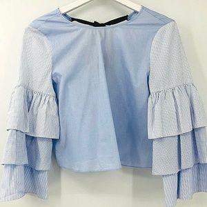 Zara Ruffle Layered Bell Sleeve Blouse